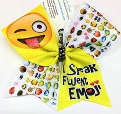 Bows by April - I Speak Fluent Emoji (Crazy) Emoji Pattern Sublimated Cheer Bow, $15.00 (http://www.bowsbyapril.com/i-speak-fluent-emoji-crazy-emoji-pattern-sublimated-cheer-bow/)