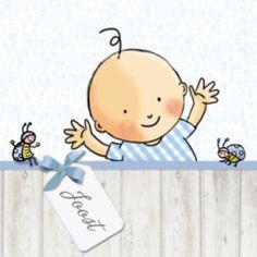 Hip geboortekaartje voor een jongetje. Op het kaartje een blij jongetje en lieveheersbeestjes, hip houten scherm en getekende hartjes op de achtergrond.