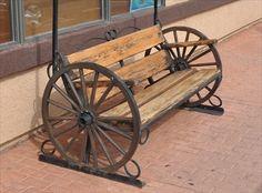 Wagon Wheel Benches On Sale Wagon Wheel Bench Valle Arizona Wagon Wheels on Iron Furniture, Steel Furniture, Unique Furniture, Rustic Furniture, Garden Furniture, Automotive Furniture, Handmade Furniture, Furniture Design, Wagon Wheel Table