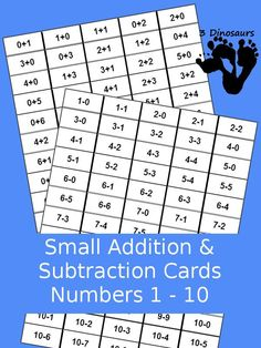 Free Small Addition & Subtraction Flash Cards numbers 1 to 10 - 3Dinosaurs.com