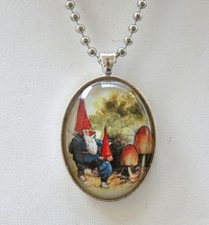 Garden Gnome necklace looking at mushrooms fairytale Kitsch DIY LARGE 40X30MM glass domed pendant