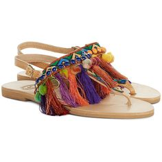 Elina Linardaki Multi Leather Dizzy Parrot Sandals (880 RON) ❤ liked on Polyvore featuring shoes, sandals, pom pom sandals, open toe flat sandals, flat sandals, leather sole shoes and flat shoes