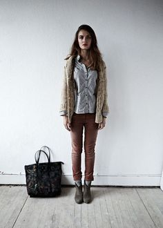 cableknit sweater + blue botton down + pale pink pants + gray booties