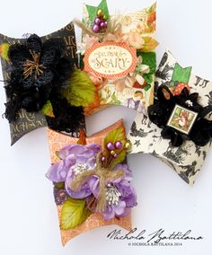Pillow boxes using the template included on the cover of An Eerie Tale with Petaloo flowers and trims - Nichola Battilana #graphic45