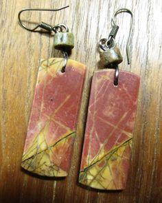 EARTH FIRE  Wearable Art Earrings  Red Creek by SusanHeleneDesigns, $45.00
