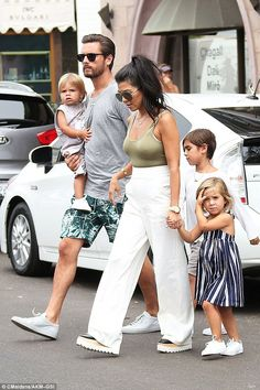 Family time: Kourtney split from her long-term partner Scott Disick, the father of her three children, last year; the two are pictured last week