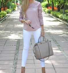 I love this blush colored top with white skinny jeans! business casual women outfits best outfits cute with different heels Business Casual Outfits For Women, Business Outfits, Business Attire, Business Fashion, Mode Outfits, Fashion Outfits, Woman Outfits, Womens Fashion, Business Mode