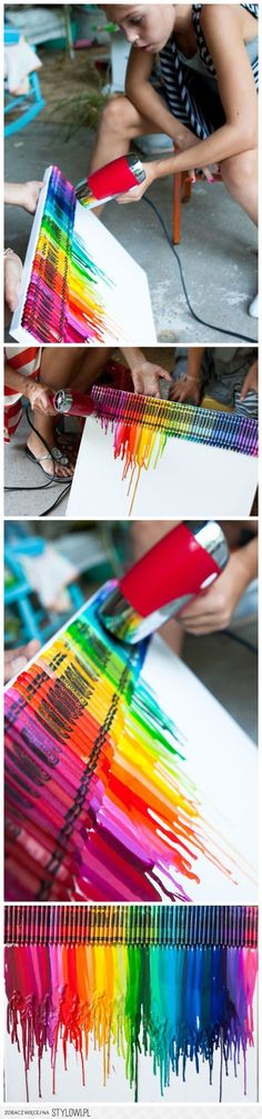 How To Make Colorful Melting Crayon Canvas Art | DIY Ta…