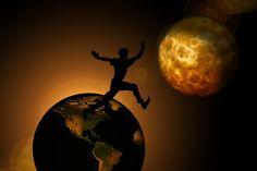 Föld, Moon, Személy, Silhouette