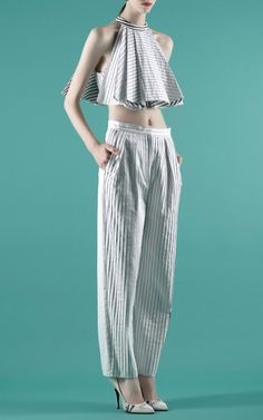 Vika Gazinskaya Spring/Summer 2014 Trunkshow Look 15 on Moda Operandi flared open striped soft crop top #fashion #ss14