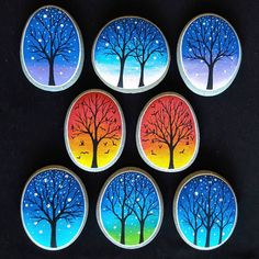 #taşboyama #stonepeinting #manzara #günbatımı #sanset #magnet #gece #night #tasarım #ağaç #kuşlar #tree #bird