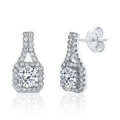Montage Jewelry Womens Vintage Cubic Zirconia  Sterling Silver Bridal Earrings -- More info could be found at the image url.