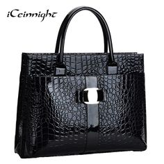 Lowest price! Crocodile Pattern Black Red Leather Bags Women Handbag With Metal Logo bolsa feminina dollar shop online handbags