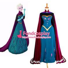 Free Shipping Disney Movie Elsa coronation dress costume cosplay Tailor-made