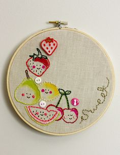 I love those little fruits!  So precious!  I've never done needlepoint before but this one doesn't look too complicated.