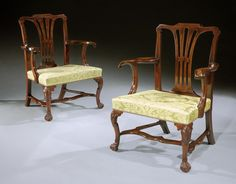 A Pair of George III Irish Armchairs in carved mahogany, illustrated in the Knight of Glin's Irish Furniture book