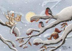 Katja Saario Christmas Tale, Christmas 2014, Christmas Pictures, Vintage Christmas, Christmas Cards, Troll, Bullfinch, Winter Magic, Christmas Illustration