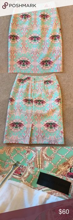 ❤️HP❤️ Mint Floral Pencil Skirt 23 inches long. 100% polyester Blaque Label Skirts