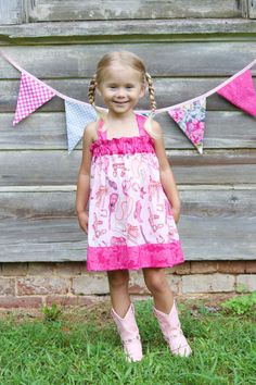 pink cowgirl dress western Birthday Party hat boots by GinaBellas1, $39.50
