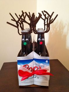 Reinbeers paired with gift cards, beef jerky, and lotto tickets. Great gift idea for the men in my life.