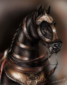 War horse by adanethiel on DeviantArt Horse Mask, Horse Armor, All The Pretty Horses, Beautiful Horses, Fantasy Creatures, Mythical Creatures, Armour Tattoo, Medieval Horse, Knight Tattoo