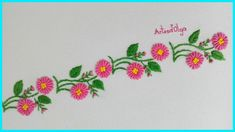 Hello everyone! Today I'm going to show you a borderline design with bullion stitch, which give a touch of elegance where you use them. Basic Hand Embroidery Stitches, Hand Embroidery Flower Designs, Border Embroidery, Hand Embroidery Tutorial, Embroidery For Beginners, Line Design, Lazy Daisy Stitch, Brazilian Embroidery, Applique Patterns