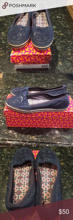 Tory Burch slip on sneaker-denim These Tory Burch denim slip ons will go great with denim capris and jeans. Excellent condition, gently used. Tory Burch Shoes Sneakers