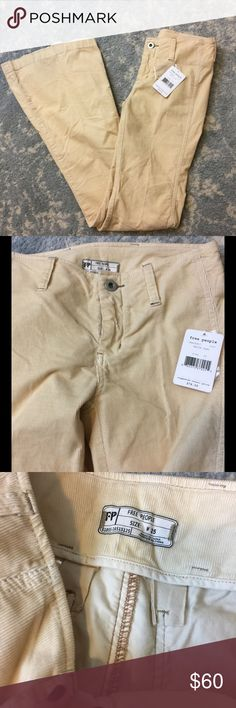 NWT FREE PEOPLE White Sand Corduroy Flare Pants Free People new with tags Flares that are called white sand color but are more pale yellow/Ivory. Size 25 and are super cute and bohemian! Free People Pants Boot Cut & Flare