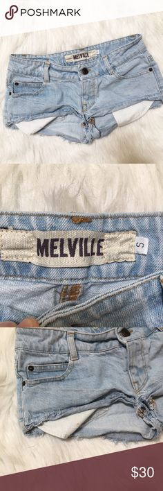 Melville Distressed Denim Shorts Distressed denim shorts with exposed pockets. Size S. Measurements coming soon! Unsure if these are Brandy Melville, currently working on figuring it out. Brandy Melville Shorts