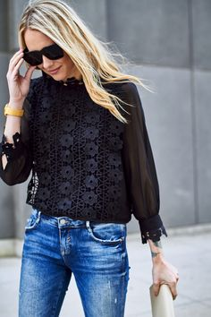 Chicwish Black Lace Top Zara Destructed Skinny Jeans Black Tassel Heels Saint Laurent Monogram Clutch Fall Outfit Date Night Outfit Black Lace Top Outfit, Lace Top Outfits, Black Lace Blouse, Black Lace Tops, Casual Outfits, Navy Lace Top, Dinner Outfits, Black Denim, Fall Fashion Staples