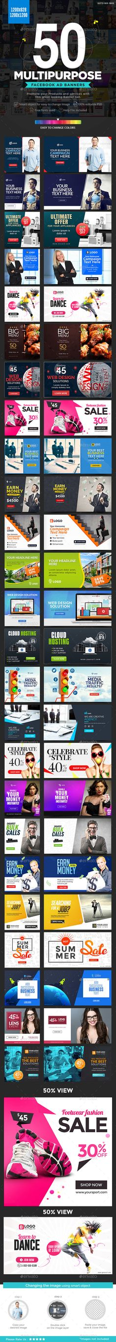 Facebook AD Banners - 25 Designs - 2 Sizes Each