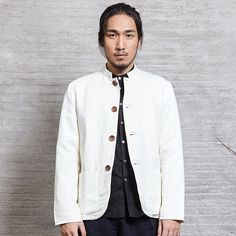 Chinese Traditional Style Mens Zhongshan Tunic Suit Coat Blazers Stand-up Collar Cotton Linen White Winter Autumn Nakali M1033 -*- AliExpress Affiliate's buyable pin. Click the image to find out more on www.aliexpress.com #Menscoats