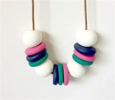 White, Raspberry, Teal and Navy Polymer Clay Necklace