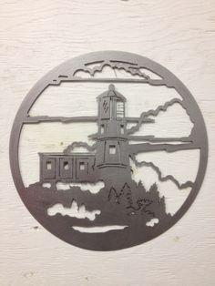 Lighthouse Hanger, beach, metal sign, metal art, ocean