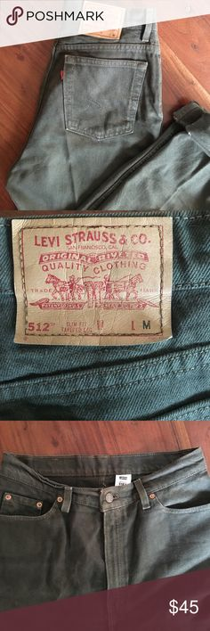 "Vintage 512 cut Levi's Cute vintage style amazing condition. Olive green color! Rise 13"" waist across 14.5""hips across 19.5"" Inseam 30"" slim fit tapered leg. Levi's Jeans"
