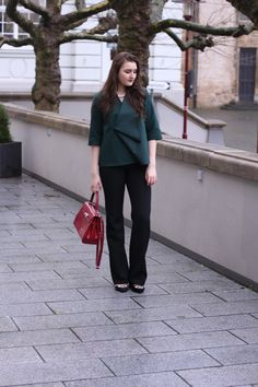 classic business outfit wearing a cos blouse, flared brad pants, asos shoes & a classic red picard bag | lauracoeur.com
