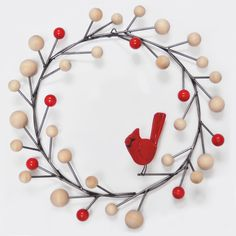 Mid century modern cardinal christmas wreath by Scott Taylor