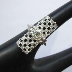 Platinum Diamond Ring, Art Deco Custom, 1.7 cts!