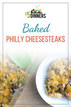 These Baked Philly Cheesesteaks make dinner a breeze! All the delicious flavors of the traditional sandwich, pulled together in a melty cheesy dish! Steak Recipes, New Recipes, Dinner Recipes, Dinner Ideas, Philly Cheesesteaks, Cheesesteak Recipe, One Dish Dinners, Best Food Ever, Healthy Dishes