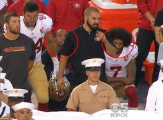 """""""I hold it, that a little rebellion, now and then, is a good thing, and as necessary in the political world as storms in the physical."""" Thomas Jefferson .............                          Kaepernick's teammate, safety Eric Reid (circled left), also sat down during the anthem"""