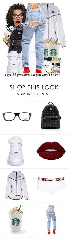 """"""""""" by ballislife ❤ liked on Polyvore featuring Ray-Ban, MCM, NIKE, Lime Crime and Moschino"""
