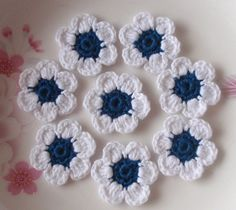 8 Crochet  Flowers In 1-1/4 inches YH - 053-12. $3.80, via Etsy.