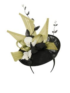 Black disc fascinator with pale green