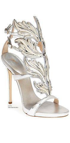 Giuseppe Zanotti 'Coline' Winged Silver Sandal ♔THD♔