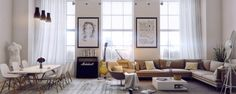 A tribute to bohemian artist style with a super modern twist, this living room turns amps and guitars into focal points.