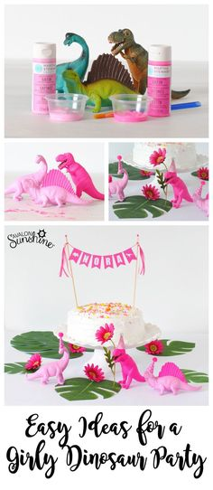 Easy Ideas for your Girly Dinosaur Party! Girls Dinosaur Birthday PartyEasy Ideas for your Girly Dinosaur Party! 4th Birthday Parties, Birthday Party Decorations, Cake Birthday, Party Favors For Kids Birthday, 1st Birthday Party Ideas For Girls, Colorful Birthday Party, Girl Birthday Themes, Colorful Party, Dinosaur Cake Toppers