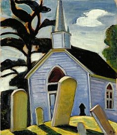 Prudence Heward The Blue Church, Prescott 1933 Art Canada Institute - Institut de l'art canadien Canadian Painters, Canadian Artists, Kitsch, Montreal, Contemporary Artists, Modern Art, Group Of Seven Paintings, Female Painters, House Painter