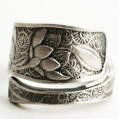 Silver Rose and Poppy Ring Sterling Silver Spoon Ring by Spoonier