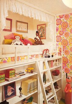 bed built higher up and into a nook; I'm sure kids would love this.