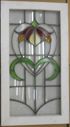 """Large Old English Leaded Stained Glass Window Abstract Heart 20 75"""" x 37 5"""" 